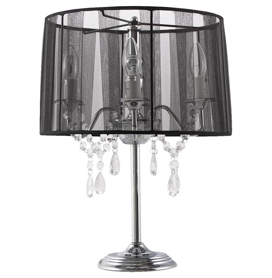 Lampe de chevet 'KLASSIK' noire chandelier baroque à pampilles