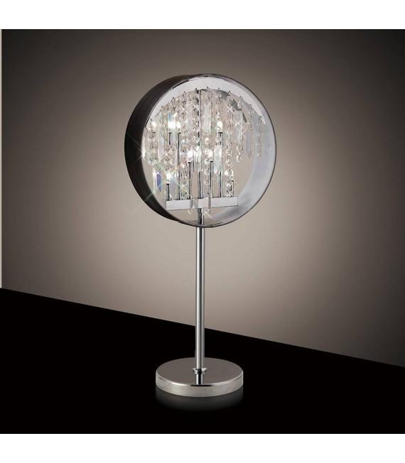 Lampe de Table Geo avec Abat jour noir 7 Ampoules chrome poli/cristal