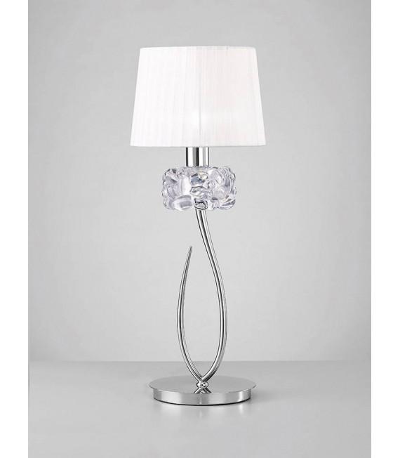 Lampe de Table Loewe 1 Ampoule E27 Big, chrome poli avec Abat jour blanc