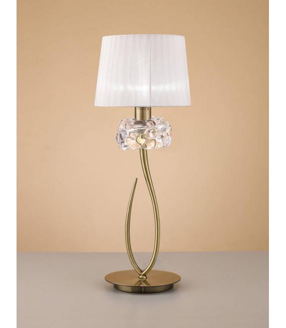 Lampe de Table Loewe 1 Ampoule E27 Big, laiton antique avec Abat jour blanc