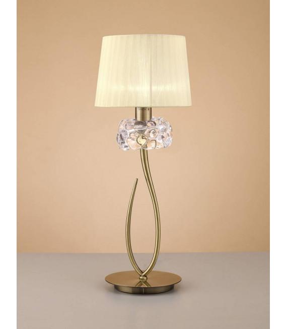 Lampe de Table Loewe 1 Ampoule E27 Big, laiton antique avec Abat jour crème