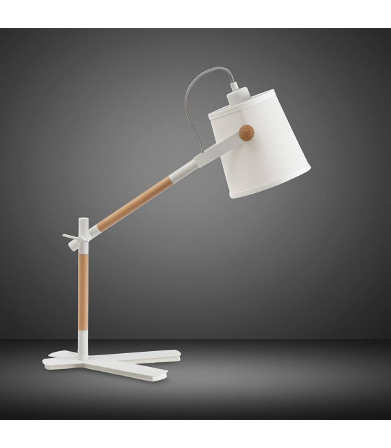 Lampe de Table Nordica avec Abat jour blanc 1 Ampoule E27, blanc mat/hêtre avec Abat jour blanc ivoire