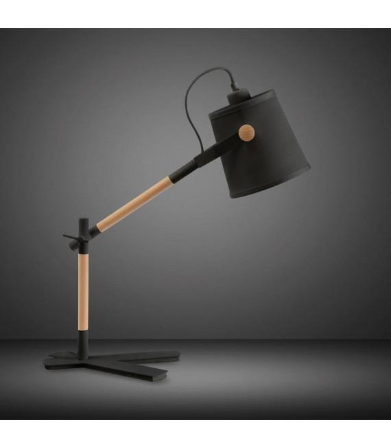 Lampe de Table Nordica avec Abat jour noir 1 Ampoule E27, noir mat/hêtre avec Abat jour noir