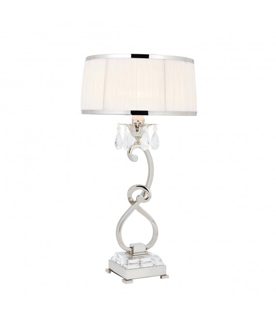 Lampe de table Oksana, 61cm, nickel poli, pampilles cristal, abat-jour blanc