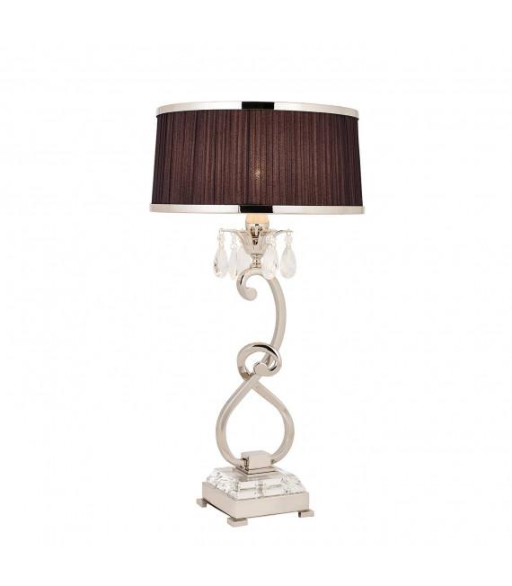 Lampe de table Oksana, 61cm, nickel poli, pampilles cristal, abat-jour noir
