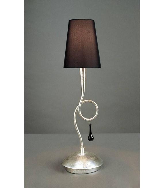 Lampe de Table Paola 1 Ampoule E14, argent peint avec Abat jour noir & goutelettes en verre noir