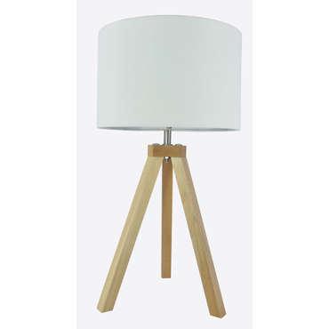 Lampe trépied OSKAR coloris bois/ blanc