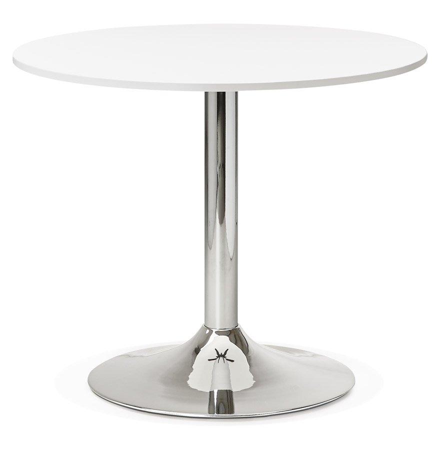 Petite table de bureau/à diner ronde 'SAOPOLO' blanche - Ø 90 cm