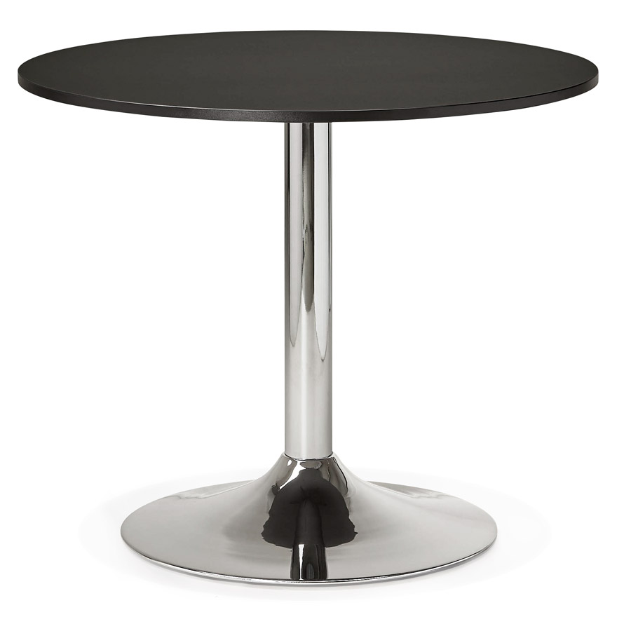 Petite table de bureau/à diner ronde 'SAOPOLO' noire - Ø 90 cm