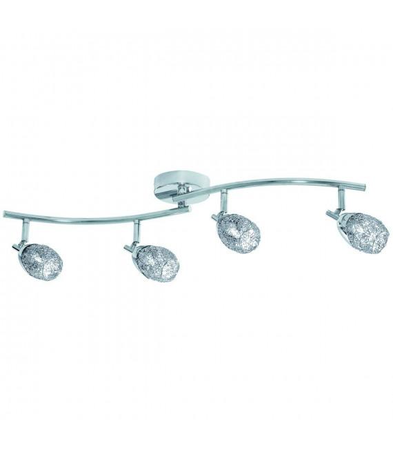 Plafonnier 70cm Mesh spot I, chrome et maille chromée, 4 éclairages