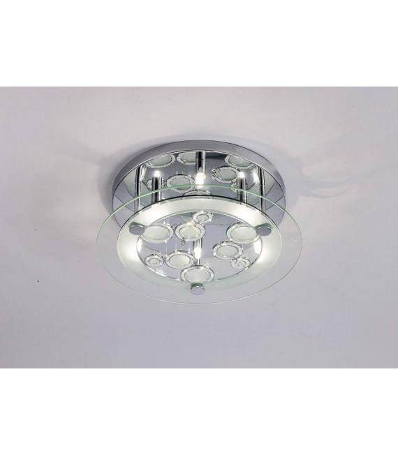 Plafonnier Destello rond 6 Ampoules rond chrome poli/cristal