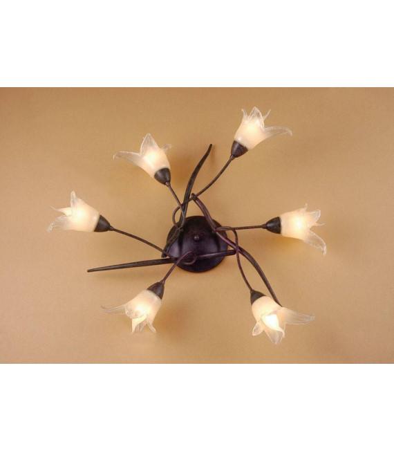 Plafonnier Florida 6 Ampoules E14, marron/noir oxydé