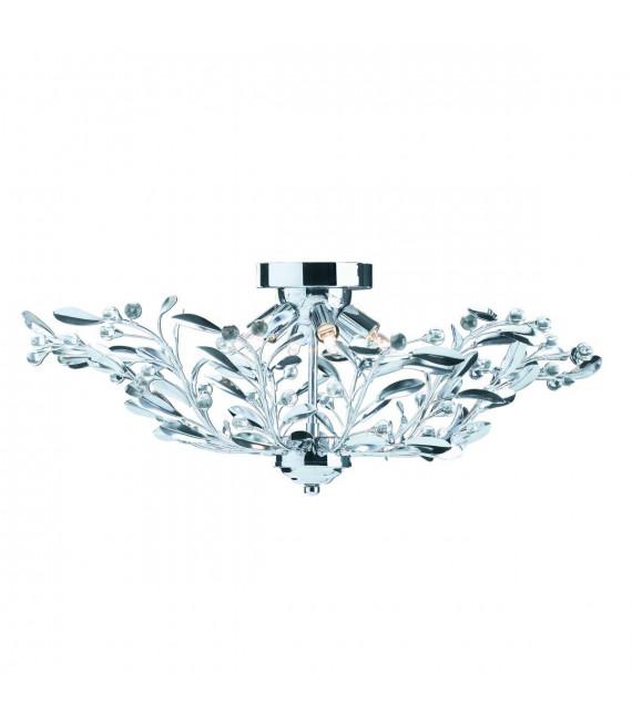 Plafonnier Lima, en chrome et verre
