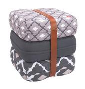 Pouf Baboesjka / 3 coussins de sol & sangle cuir - Fatboy Dimensions d'un coussin : 47 x 47 cm x H 17 cm - Dimensions des 3 coussins empilés : 47 x 47 x H 52 cm blanc,gris,taupe en tissu