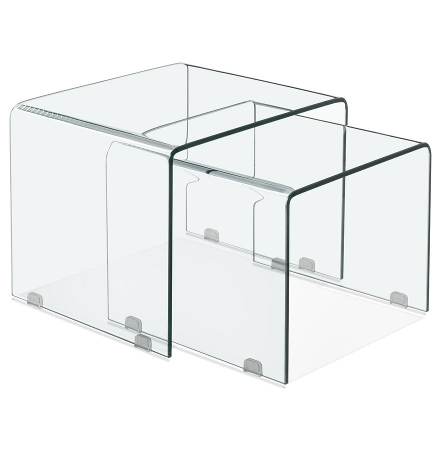 Set de 2 tables gigognes design 'BOBBY DOUBLE SIDE' en verre transparent