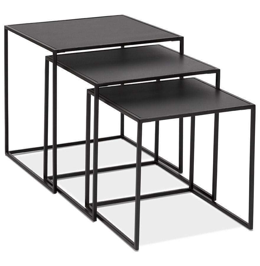 Set de 3 tables gigognes empilables 'BAGGY' en bois et métal noir