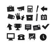 Set Symboles Office / pour tableau perforé - Design Letters noir en matière plastique