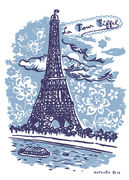 Sticker La Tour Eiffel / 25 x 35 cm - Domestic bleu en papier