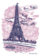 Sticker La Tour Eiffel / 25 x 35 cm - Domestic rose en papier