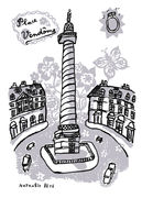 Sticker Place Vendôme / 25 x 35 cm - Domestic gris en papier