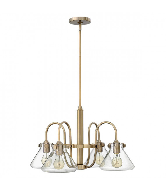 Suspension Congress, couleur caramel brossé, 4 ampoules, 68 cm
