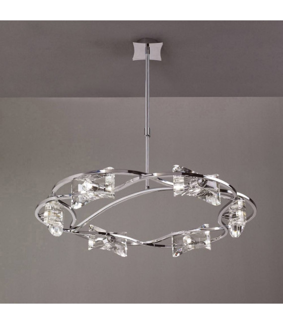 Suspension Kromo télescopique 6 Ampoules G9 rond, chrome poli