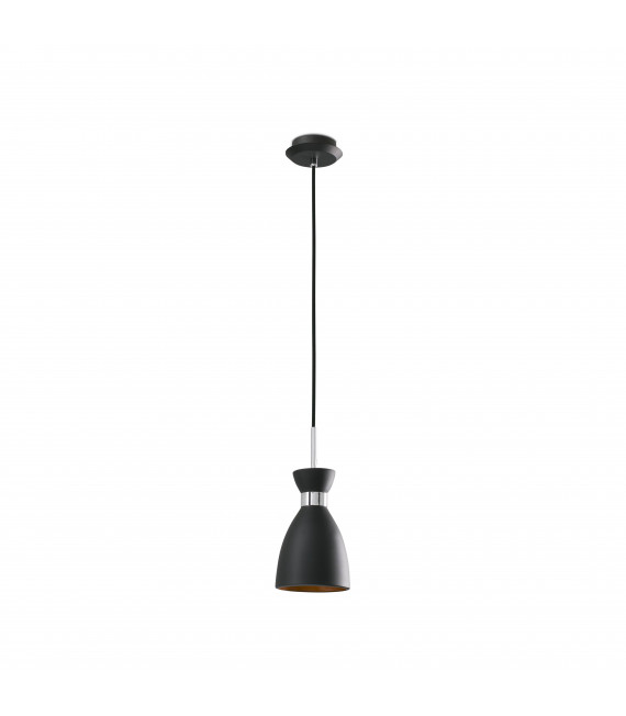 Suspension noire Retro 1 ampoule