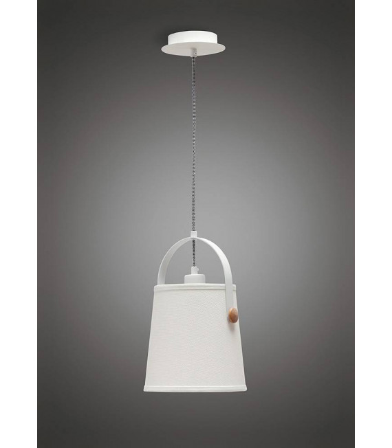 Suspension Nordica avec Abat jour blanc 1 Ampoule E27, blanc mat/hêtre avec Abat jour blanc ivoire