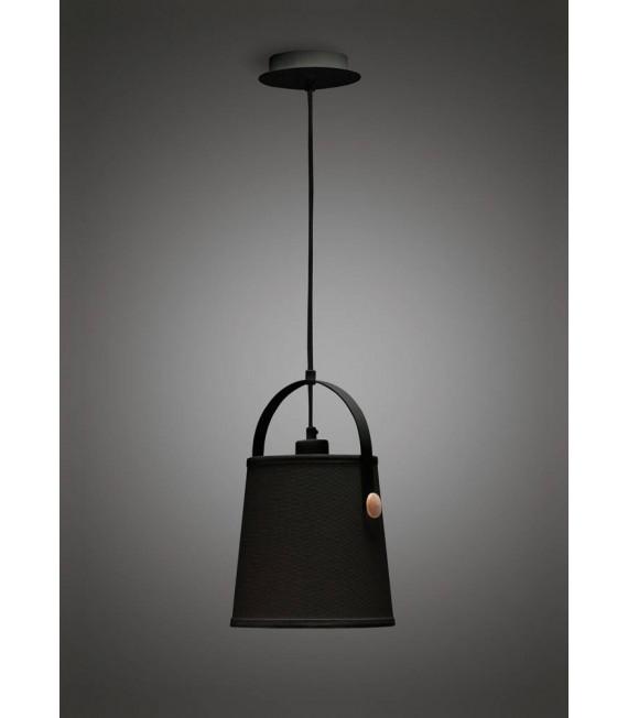 Suspension Nordica avec Abat jour noir 1 Ampoule E27, noir mat/hêtre avec Abat jour noir