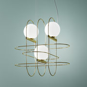 Suspension Setareh triple / LED - Larg 45 x H 45 cm - Fontana Arte blanc,or en métal