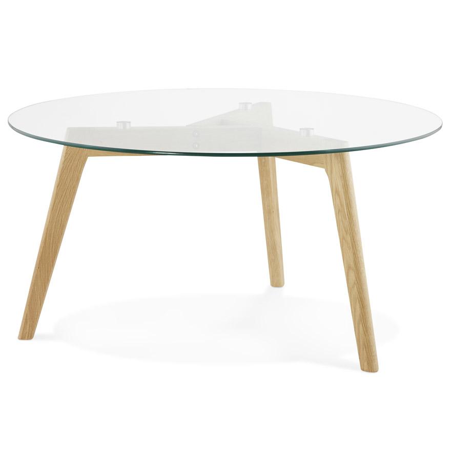 Table basse de salon ronde 'GLAZY' en verre