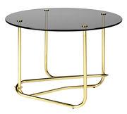 Table basse Lounge Table / Matégot - Ø 41 x H 58 cm - Gubi fumé,laiton en métal