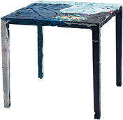 Table carrée Rememberme / En jeans recyclés - Casamania bleu en tissu