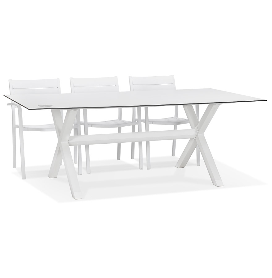 Table de jardin design 'PORTO' blanche avec pied en X