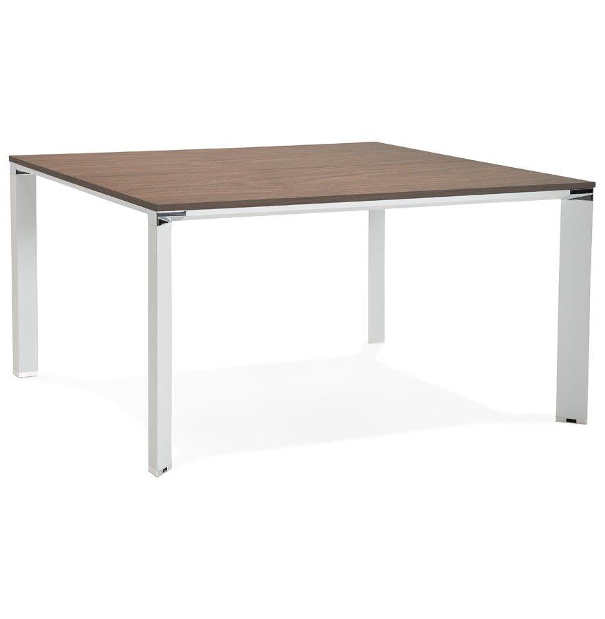 Table de réunion / bureau bench 'XLINE SQUARE' en bois finition Noyer et métal blanc - 140x140 cm