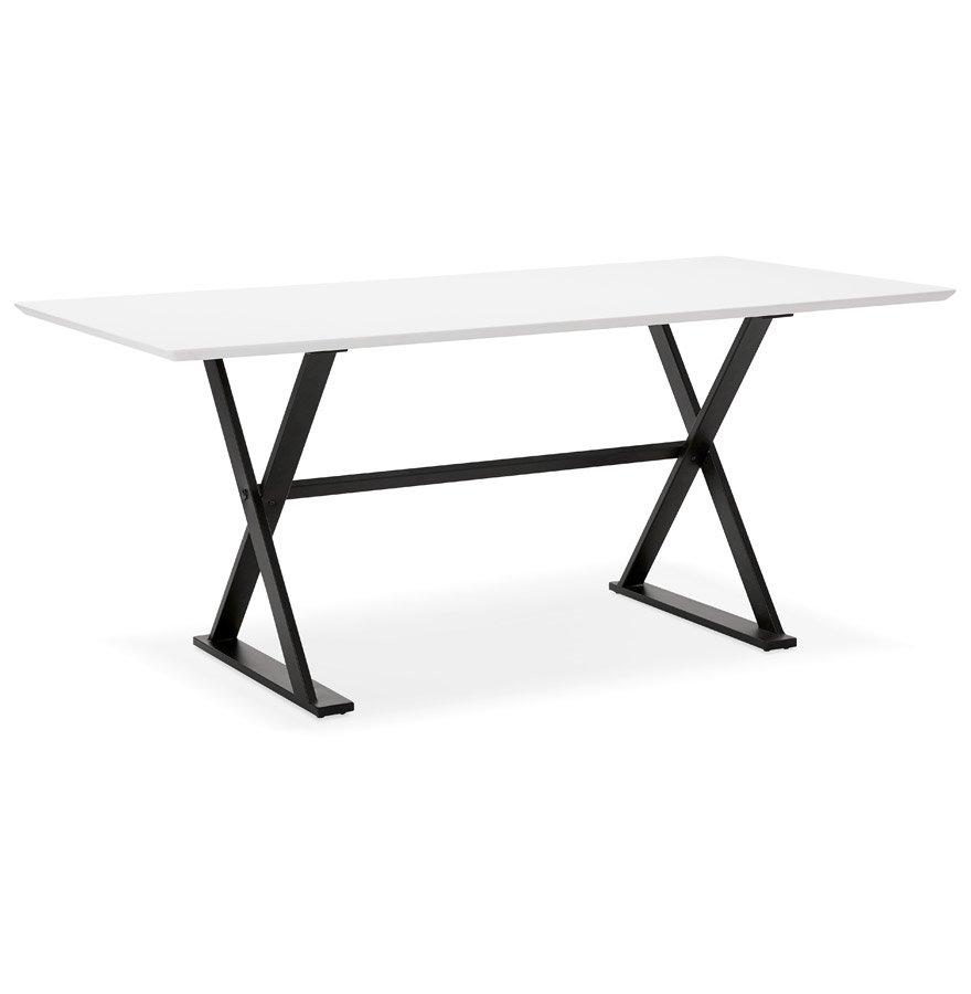 Table à diner / bureau design avec pieds en croix 'HAVANA' blanche - 180x90 cm