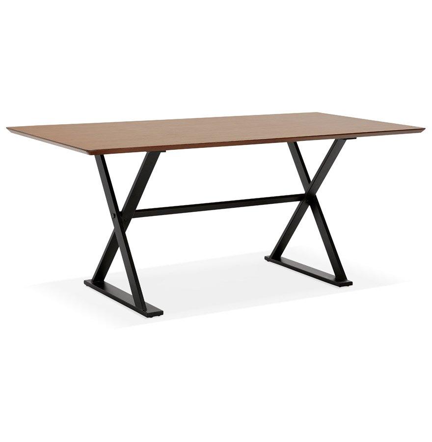 Table à diner / bureau design avec pieds en croix 'HAVANA' en bois finition Noyer - 180x90 cm