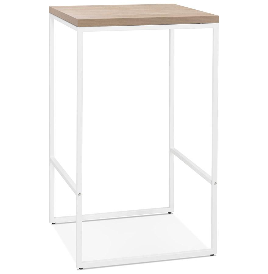 Table haute design 'STRAMOS' finition naturelle avec structure blanche vouée aux pro de la restauration
