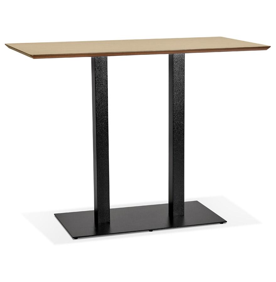 Table haute design 'ZUMBA BAR' en bois finition naturelle avec pied en métal noir - 150x70 cm