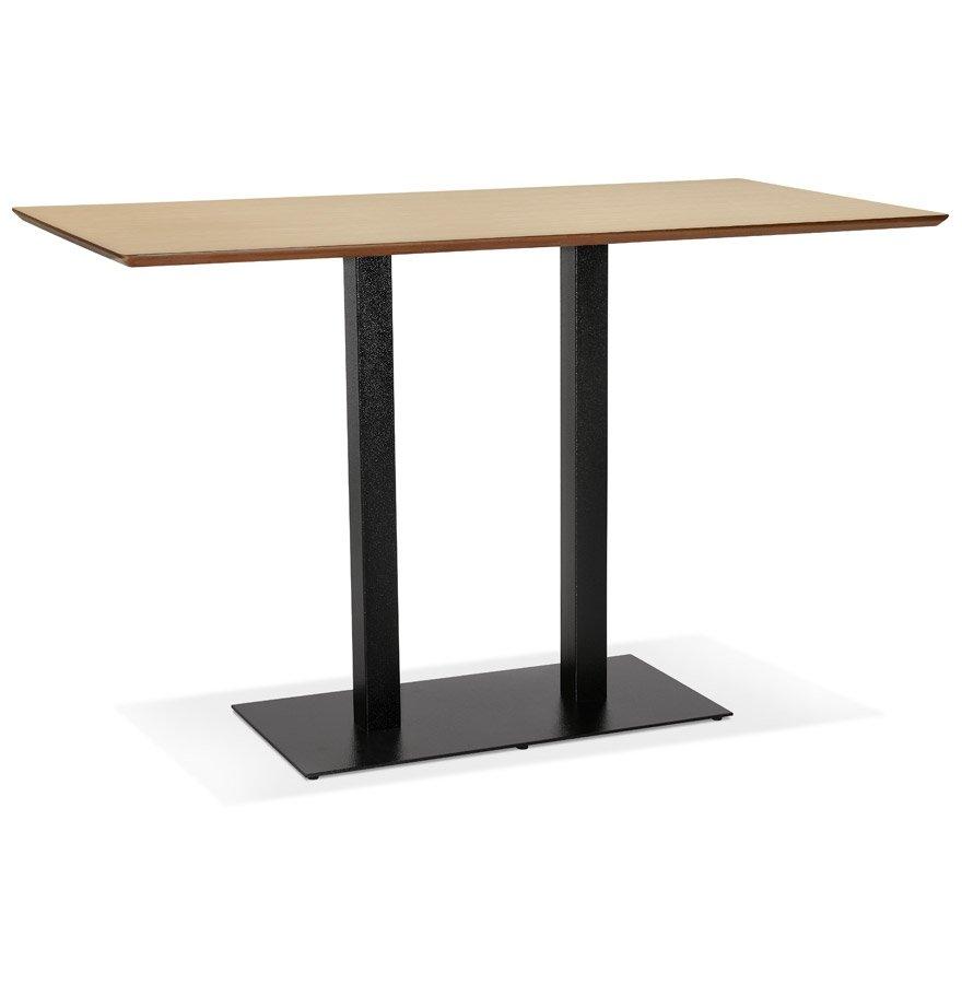 Table haute design 'ZUMBA BAR' en bois finition naturelle avec pied en métal noir - 180x90 cm