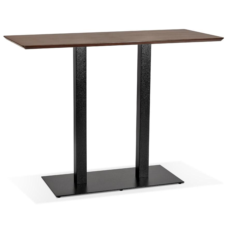 Table haute design 'ZUMBA BAR' en bois finition Noyer avec pied en métal noir - 150x70 cm