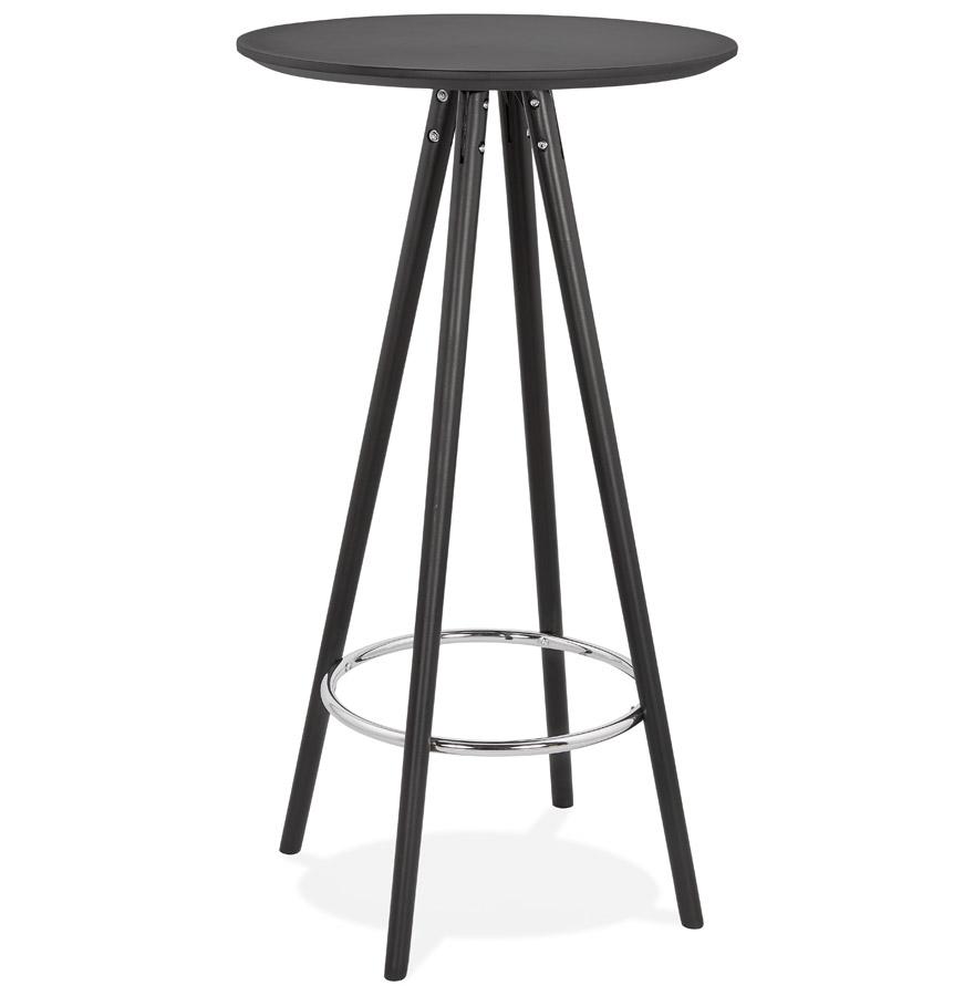 Table haute / Mange-debout rond 'GALA' design en bois noir