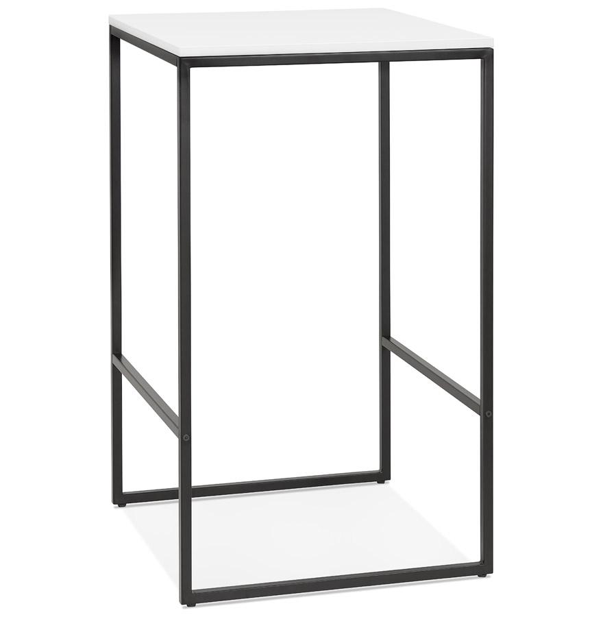 Table haute style industriel 'ORTOS' avec plateau blanc et structure noire idéale pour les professionnels
