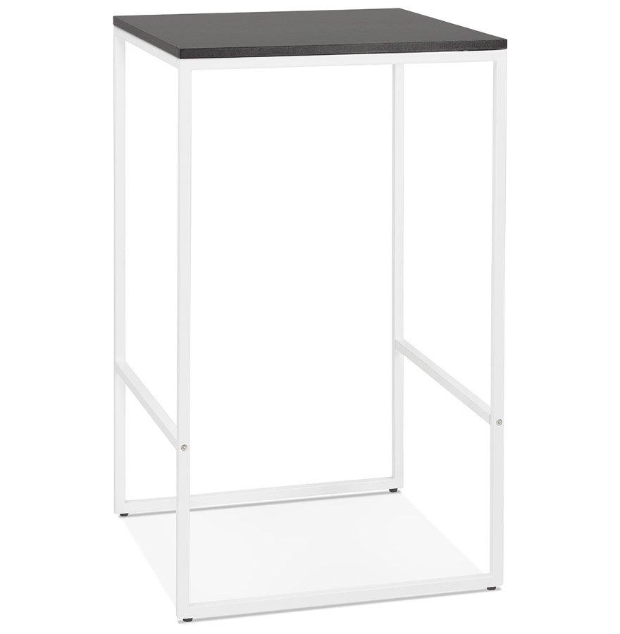 Table haute style industriel 'ORTOS' avec plateau noir et structure blanche idéale pour les professionnels