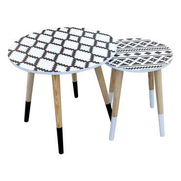 Tables basses gigognes COURIGE coloris blanc/noir