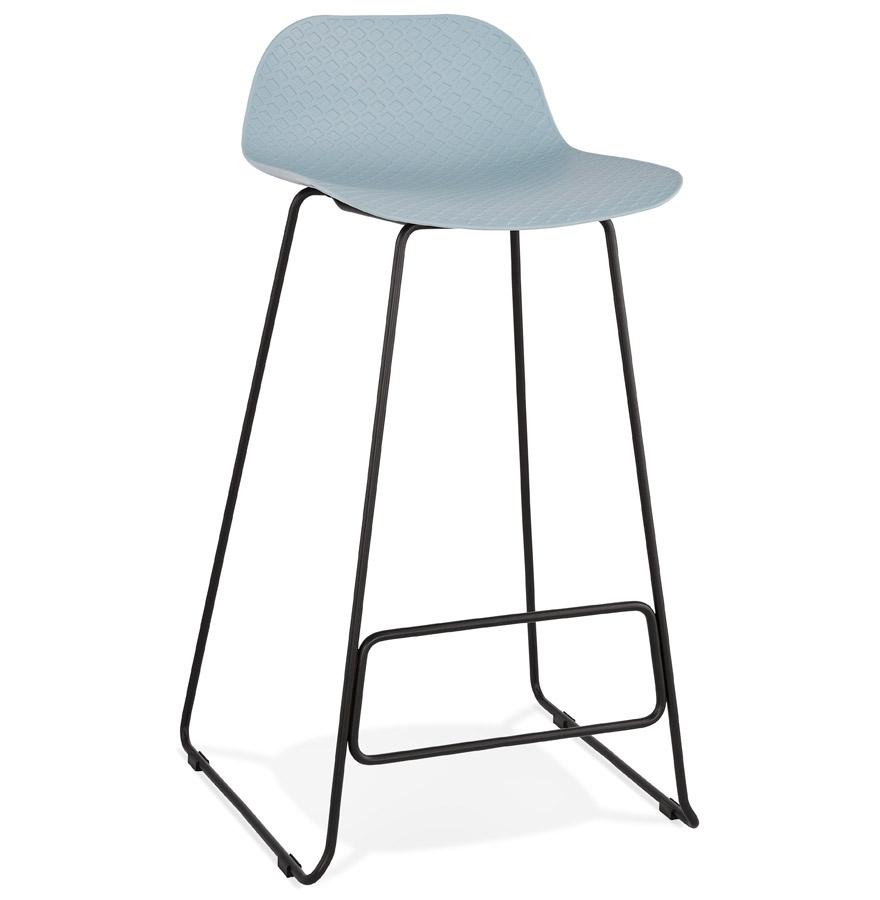 Tabouret de bar design 'BABYLOS' bleu avec pieds en métal noir