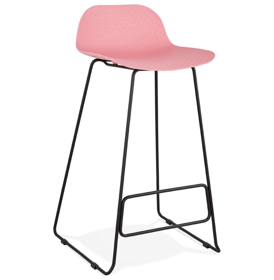Tabouret de bar design 'BABYLOS' rose avec pieds en métal noir