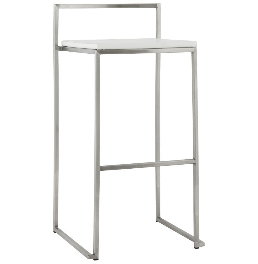 Tabouret de bar design 'DISKO' blanc empilable style industriel