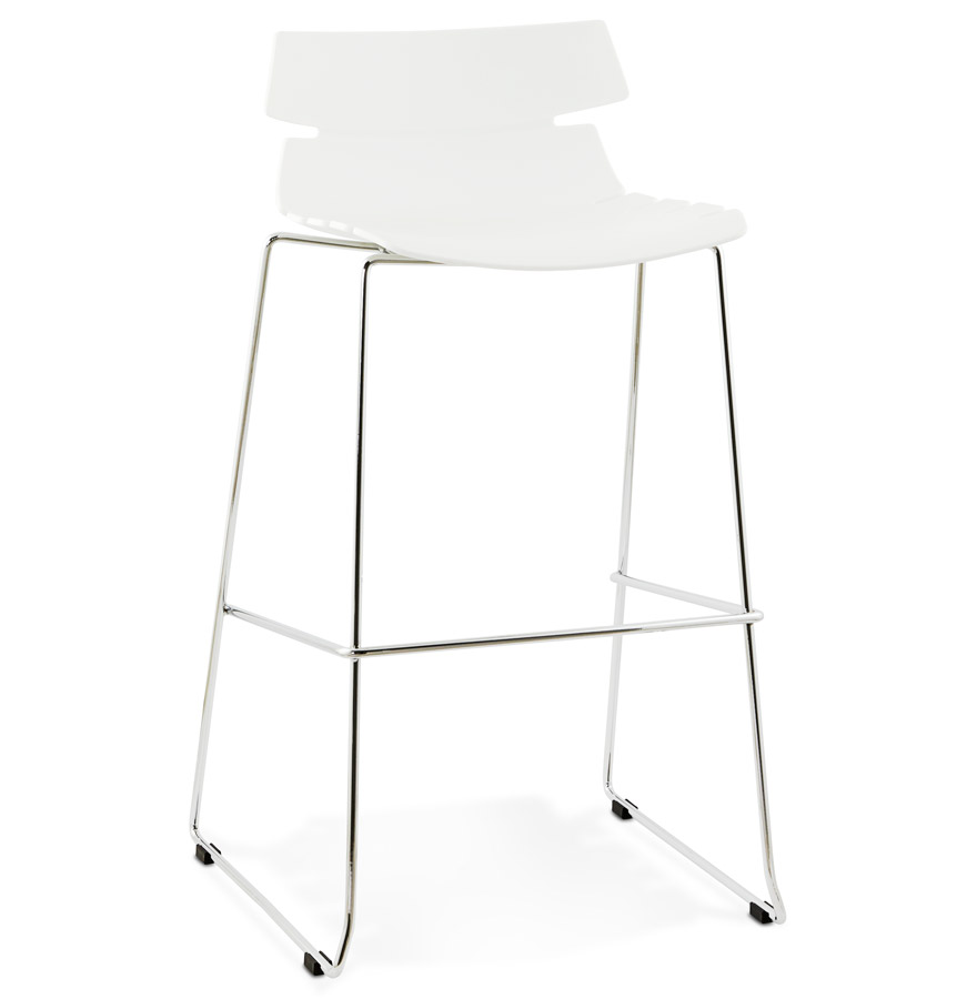 Tabouret haut 'MARY' blanc empilable contemporain