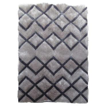 Tapis 160x230 cm DOMI LOSANGES coloris gris